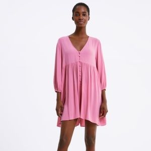Zara Pink Playsuit/Romper Button Small Draped